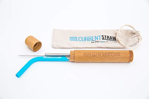 CurrentStraw - Single Pack - Eco-Friendly Reusable, Premium Stainless Steel Metal Drinking Straw with Custom Silicone Tip | Handcrafted Bamboo Travel Case & Stylish Pouch | Zero Waste | by CurrentStraw (Image #5)