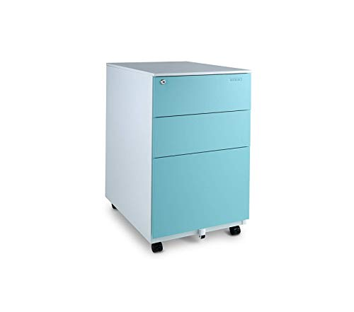 Wood & Style Office Home Furniture Premium Fully Assembled Modern Soho Design 3-Drawer Metal Mobile File Cabinet with Lock Key, White/Aqua Blue