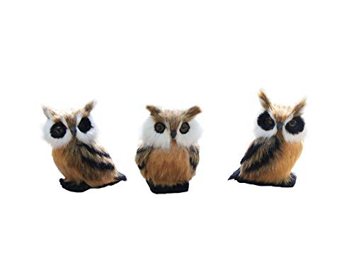 Rmdusk Bird Figurine Artificial Feathered Owl Model Realistic Simulation Stuffed Toy Ornament Home Garden Fairy Desktop Décor (Set of 3)]()