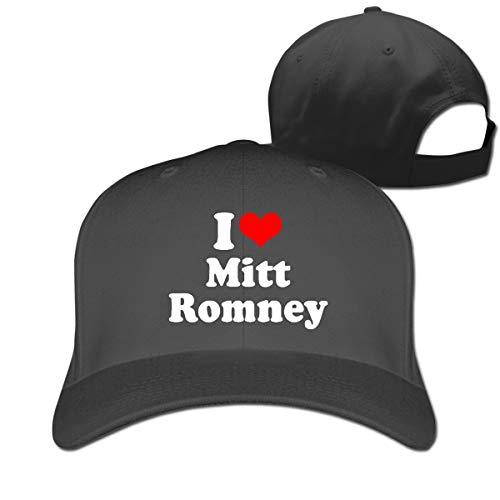 (Stylish Baseball Cap, I Love Mitt Romney Strapback Cap Fits Women Men Adjustable Size Black)