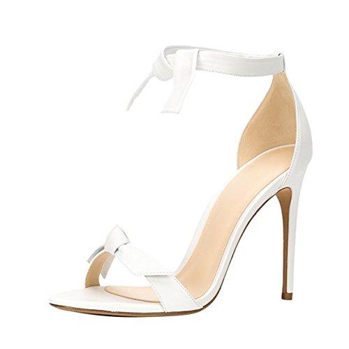 Damen Sandalen Open Toe High-Heels Stiletto Knöchelriemchen Weiß
