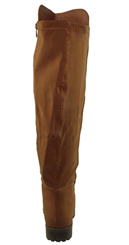 Forever Womens Fifty-50-2 Fashion Two Tone Over The Knee Riding Boots
