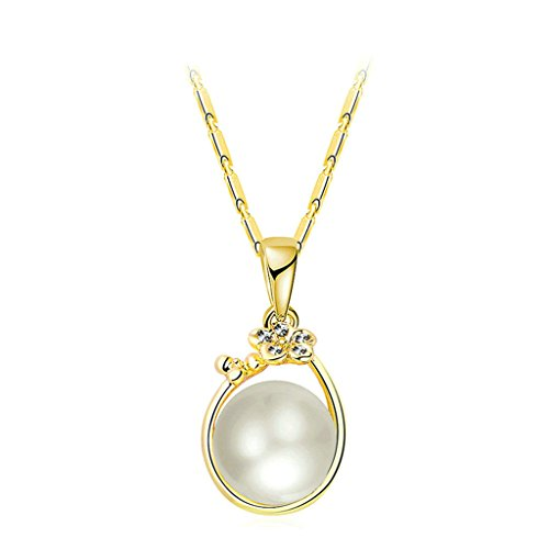 Bishilin Gold Plated Womens Pendant Necklace Cubic Zirconia Flower Freshwater Pearl Bead Gold Necklaces