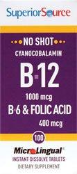 Superior Source No Shot Vitamin B6/Vitamin B12/Folic Acid Nutritional Supplements, 100 Count, Health Care Stuffs