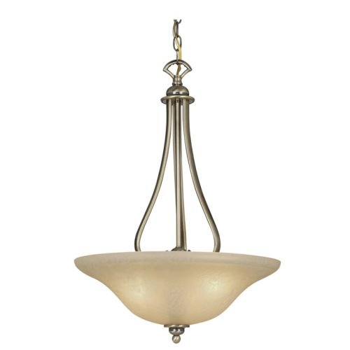 Vaxcel USA PD35418AC Monrovia 3 Light Foyer Pendant Lighting Fixture in Brass, Glass by Vaxcel