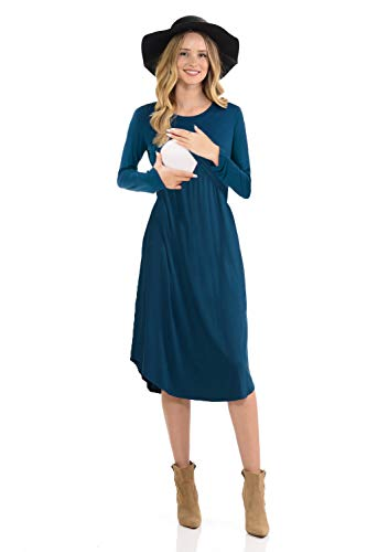 CzzzyL Knee Length Maternity Dresses for Work, Womens Long Sleeve Maternity Nursing Dress for Breastfeeding(Blue,X-Large)
