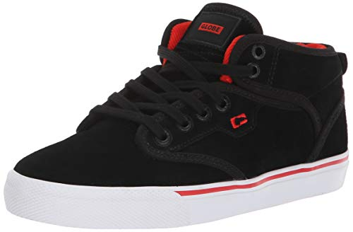 Globe Boys' Motley Mid-Kids Skate Shoe, Black Suede/White, 5 M US Big Black Kids Skateboard Shoe