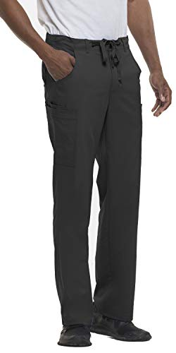 - healing hands Blue Label Men's Dylan 9124 Drawstring Zip Fly Cargo Scrubs- Black- L