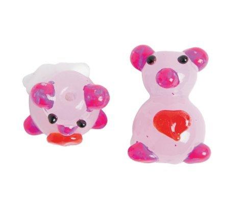 Hand Made Pink Piggies Glass Lampwork Beads - 24 pieces