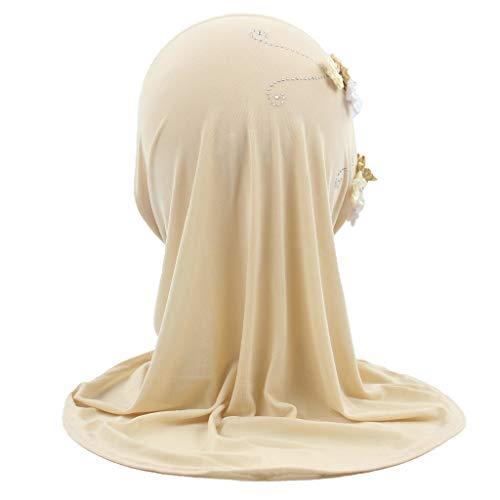 LUNIWEI Child Muslim Stretch Turban Hat Chemo Caps Hair Head Scarf Headwrap Shower Cap Khaki ()