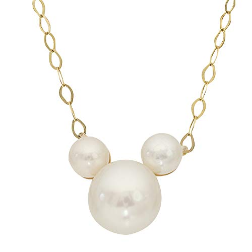 Disney Mickey Mouse 14KT Yellow Gold Pearl Necklace; Mickey's 90th Birthday Anniversary; ()