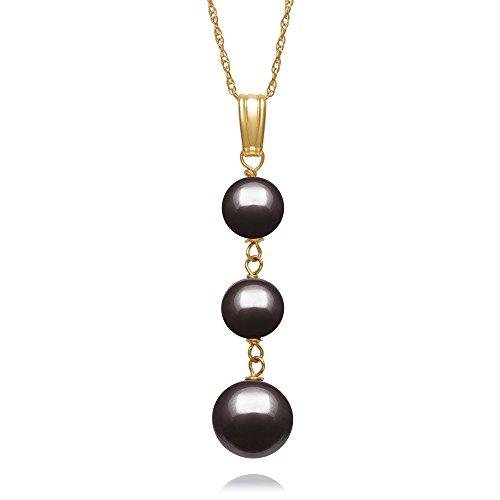 "14K Yellow Gold Black Cultured Freshwater Pearl Drop Pendant,18"""