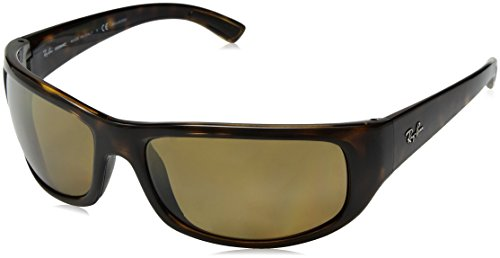 Ray-Ban Men's RB4283CH Chromance Mirrored Rectangular Sunglasses, Tortoise/Polarized Bronze Mirror, 64 - Lens Tortoise Brown Frame Bronze
