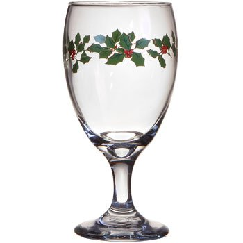 Holiday Christmas Holly Berry Clear Glass Goblet Set (Case of 4)