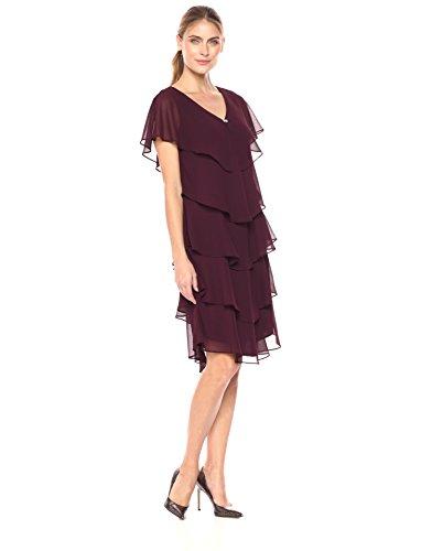 Chiffon Tier Dress - S.L. Fashions Women's Pebble Tier Dress (Petite and Regular Sizes), FIG, 18