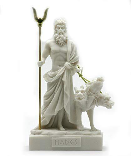 (Alabaster Statue Hades Pluto Greek God of Underworld & Cerberus Figurine 5.1΄΄ (White))