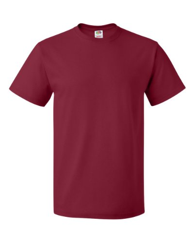 (Fruit of the Loom Mens 5 Oz. 100% Heavy Cotton HD T-Shirt(3931)-CARDINAL-L-5PK )
