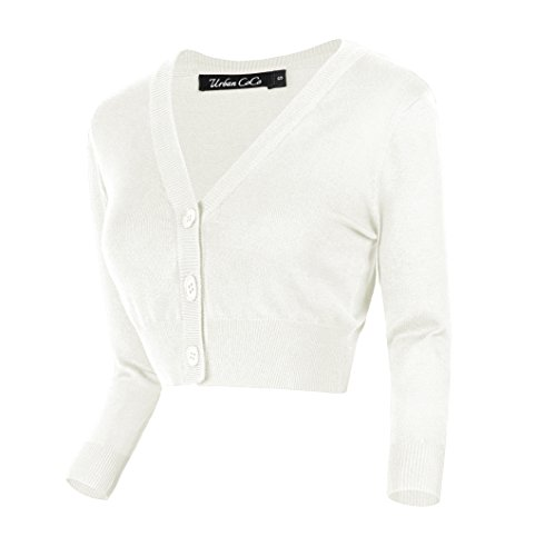 - Urban CoCo Women's Cropped Cardigan V-Neck Button Down Knitted Sweater 3/4 Sleeve (L, White)