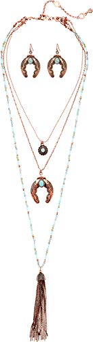 (M&F Western Women's 3 Layer Squash Blossom with Tassel Necklace/Earrings Set Copper One Size)