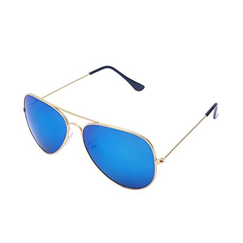 Aviator Sunglasses UV Eye Protection for Unisex with Classic Metal Frame&Sun Glasses Case (Gold, Blue) (Blue, - First Sunglasses Aviator