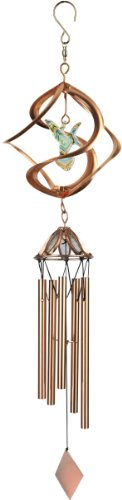 Red Carpet Studios Cosmix Copper Wind Spinner and Chime, Hummingbird