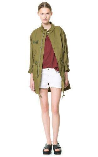 Zara de destello de luz diseño de mujer algodón para abrigos Parka Diseño militar de pareja