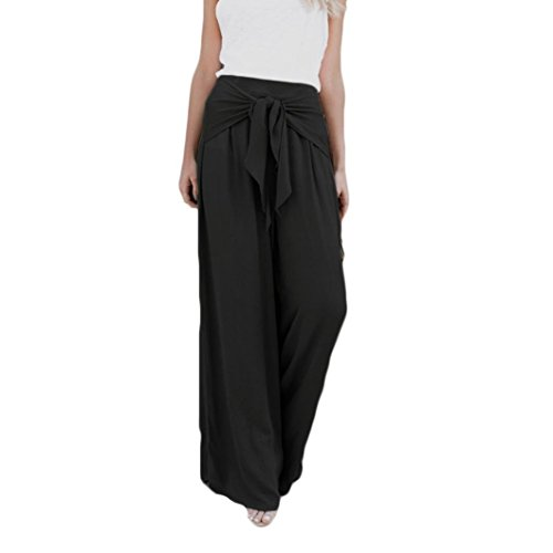 (Hot Sale! Paymenow Women High Waisted Flare Palazzo Wide Leg Pants Tie Knot Belted Loose Long Palazzo Pants (L, Black))