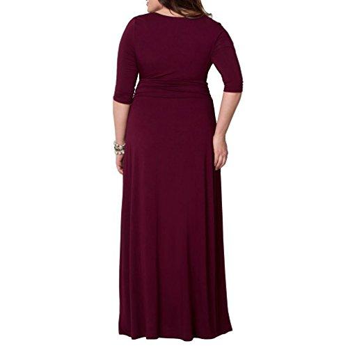 Honghu mujeres de cuello en V patrón maxi largo vestido más el tamaño de media manga vestido formal Tinto de Vino
