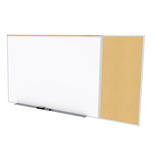 Ghent Style C 4 x 8 Feet Combination Board, Porcelain Magnetic Whiteboard and Natural Cork Bulletin Board , Made in the USA by Ghent