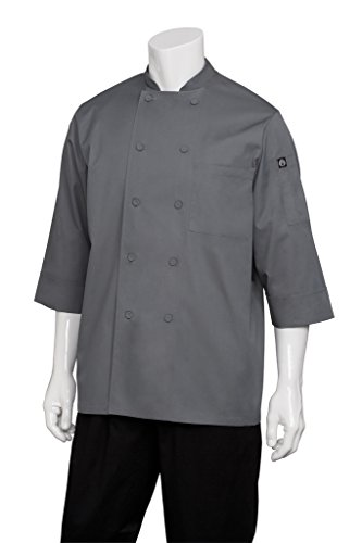 Chef Works Mens Morocco Short Sleeve Chef Coat, Grey, LARGE