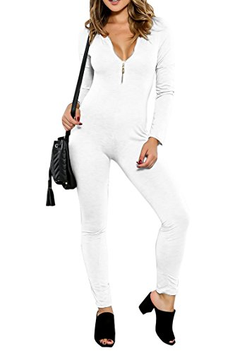 Pink Queen Women Zip-up Fall Long Sleeve Skinny Pant Night Out Jumpsuits Rompers, White-2165, X-Large