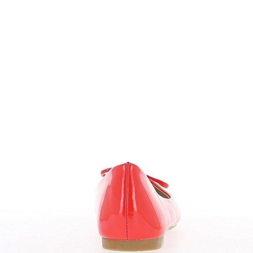 Rote Ballerina mit Endknoten bemalt und Köper Band 1 cm