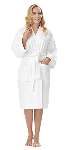 Arus Women's Short Kimono Lightweight Bathrobe Turkish Cotton Terry Cloth Robe White L/XL