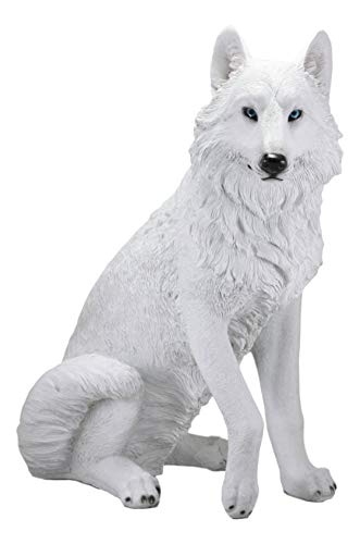 Ebros Large Artemis Wildlife Sitting Alpha Albino Ghost White Wolf Statue 20.5