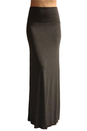 Azules Women'S Rayon Span Maxi Skirt - Charcoal M