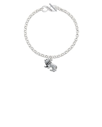 Silvertone 3-D Lion Sisters Infinity Toggle Chain Bracelet, 8