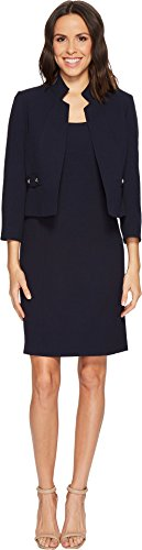 Tahari ASL Women's Bi Stretch Stand Collar Jacket and Dress Navy 12 (Asl Sleeveless Dress)