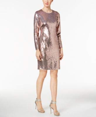 - Calvin Klein Womens Sequined Sheath Party Dress Pink 12