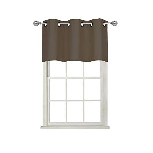 Home Queen Grommet Top Blackout Curtain Valance Window Treatment for Living Room, Short Straight Drape Valance, Set of 1, 37 X 18 Inch, ()
