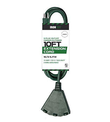 40' Drop Leaf Table - 10 Ft Outdoor Extension Cord with Power Block - 16/3 Durable Green Cable