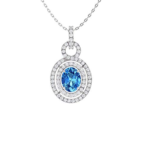 (Diamondere Natural and Certified Oval Cut Blue Topaz and Diamond Double Halo Necklace in 14k White Gold | 2.98 Carat SI1-SI2 Quality Pendant with)