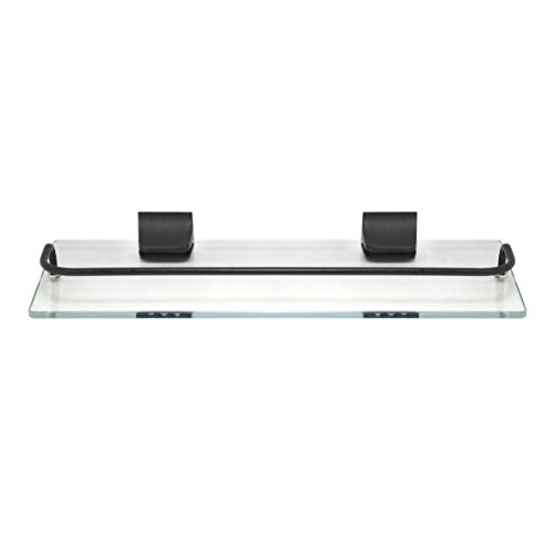 Shelf Bathroom Bronze (MODONA Glass Wall Shelf with Rail – Rubbed Bronze – 5 Year Warrantee)
