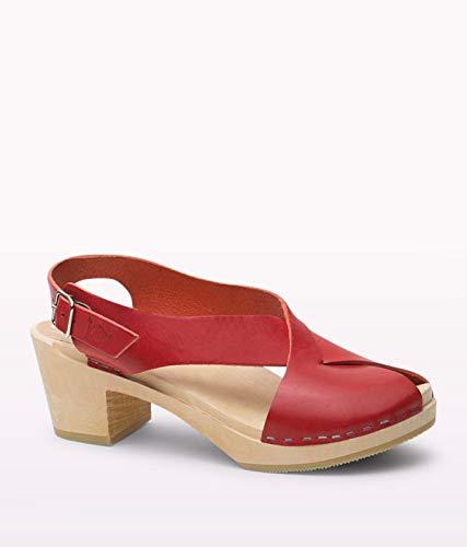 Sandgrens Swedish High Heel Wood Clog Sandals for Women | Morocco Red, EU 39