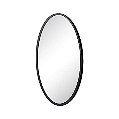 KAASUN Oval Wall Mirror with Coating Steel Frame 24 x 36 Inch Wall Mounted Bathroom Mirror Rusty-Free for Home Decorative Living Room Washroom Entryway Hanging - 24x36 inches Oval Wall Mounted Mirror with Black Dusting Metal Frame, No residual watermarks that Looks Elegant in any Room Glass Panel Circle Deep Set Design, Made of Environmental Silver Mirror to provide the ultimate protection against corrosion caused by humidity and household chemicals Ideal for Washroom, Bedroom, Entryway or Dining Room, the Light and Visual Depth are Doubled in an Instant, Making the Space Appear Bigger - bathroom-mirrors, bathroom-accessories, bathroom - 31kBd%2B7uaVL. SS400  -