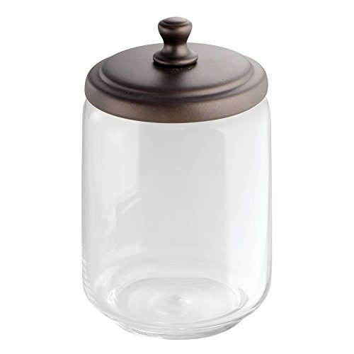 InterDesign York Bathroom Vanity Glass Apothecary Jar for Cotton Balls, Swabs, Cosmetic Pads - Clear/Bronze - Bronze Jar