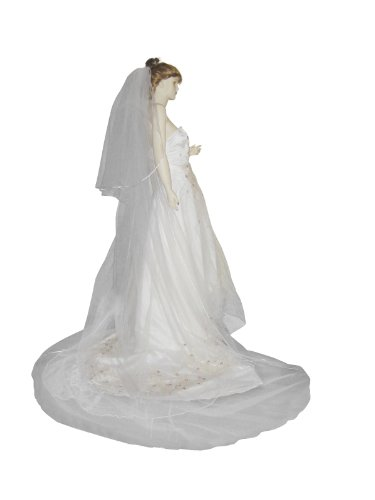 Shop Ginger Wedding 2T Bridal Veil Long Satin Rattail Edge Handmade Ship USA (Cathedral 30×110, Diamond White)
