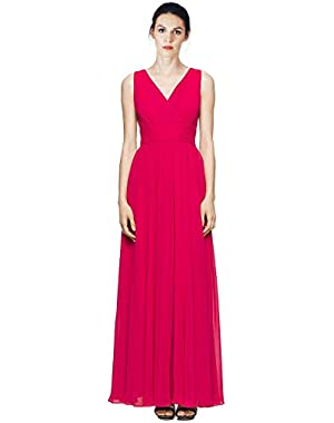 Calvin Klein V-Neck Pleated Chiffon Evening Gown Dress