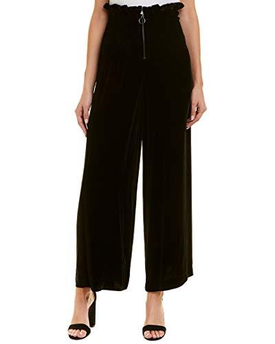 Rebecca Taylor Womens Smocked Velvet Silk-Blend Pant, Xs, Black