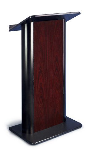 Jewel Mahogany Contemporary Lectern with Black Anodized - Anodized Lectern Aluminum