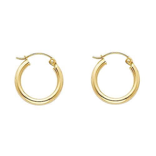 Gold Hoop Earrings 15mm - 14k Yellow Gold 2mm Thickness Hinged Hoop Earrings (15 x 15 mm)